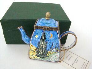 KELVIN-CHEN-Enamel-Hinged-Miniature-Teapot-Starry-Night-Van-Gogh-ENK837
