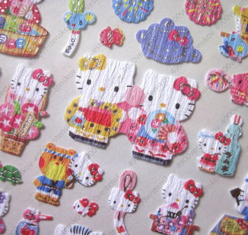 Details about  /Sanrio made in japan Hello Kitty Summer Kimono 2013 Texture Paper Sticker