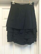 Auth NWT CHLOE Wool Black Multi-layers Heavy Knee-length Skirt Sz 36 US Sz 4 $2k