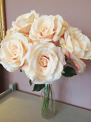 Bunch of 7 Vintage Peach Artificial English Roses, Realistic Silk Flowers