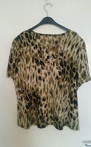 Animal-Print-Evening-Tshirt-Top-khaki-green-brown-gold-detail-Size