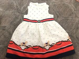 Janie And Jack Navy Blue White Nautical Sleeveless Dress Girls Size 12-18 Month