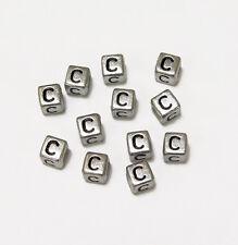 "6mm Silver Metallic Alphabet Beads Black Letter ""C"" 100pc"