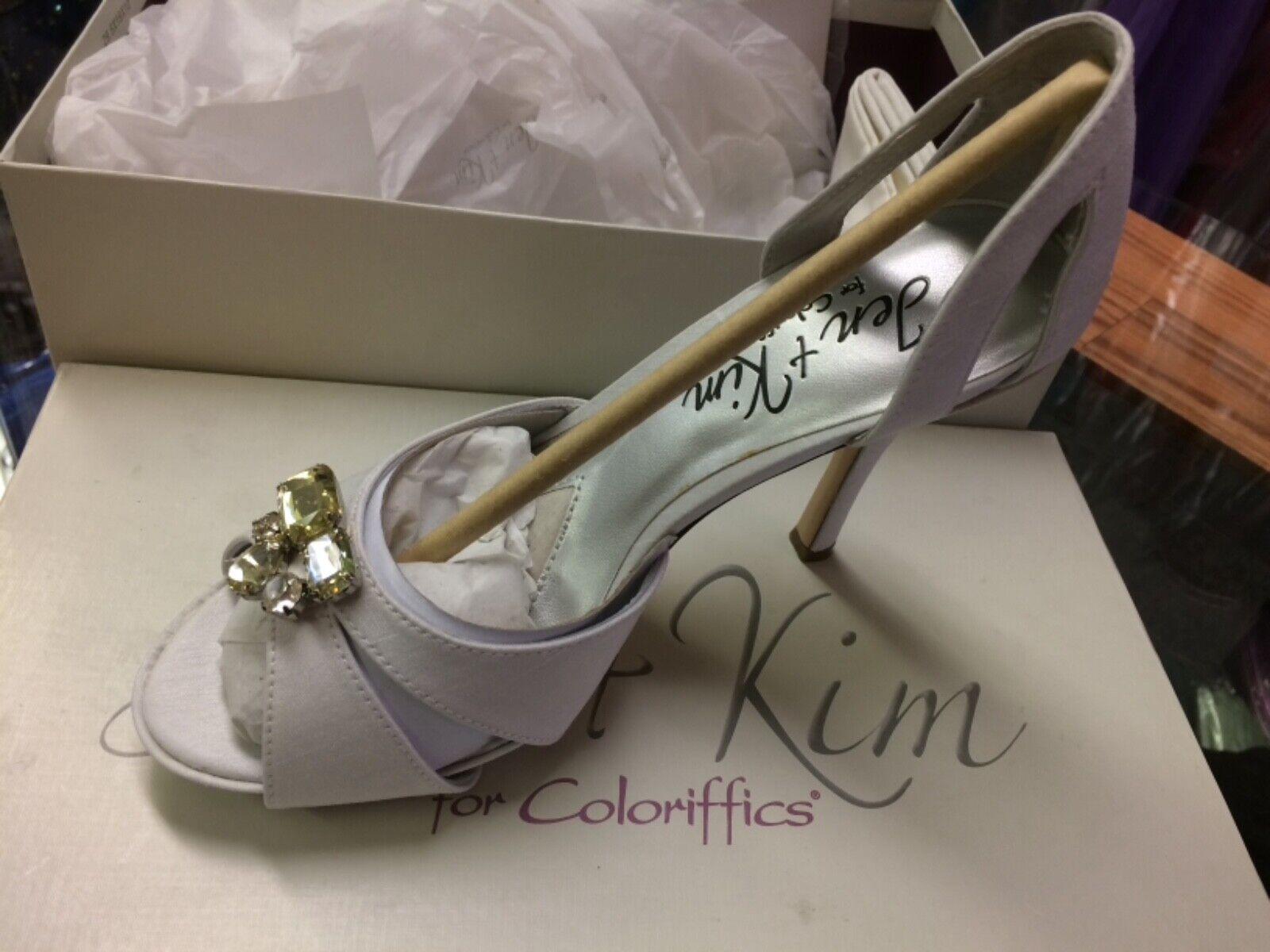 Jen+Kim by Coloriffics Passion White Silk Crystals Brides Closed Sandal 10 M