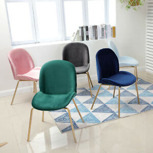 Modern Gold Legs Beetles Backrest Dining Chairs With Velvet Cushion