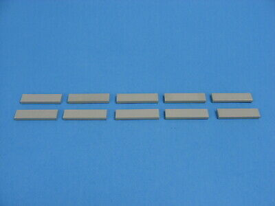 10x LEGO Old Light Gray Tile 1 x 4 Smooth Plate Classic Space Castle #2431