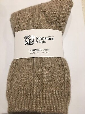 Johnstons of Elgin Check Cable Bed Socks cashmere new with tags Blue RRP£59