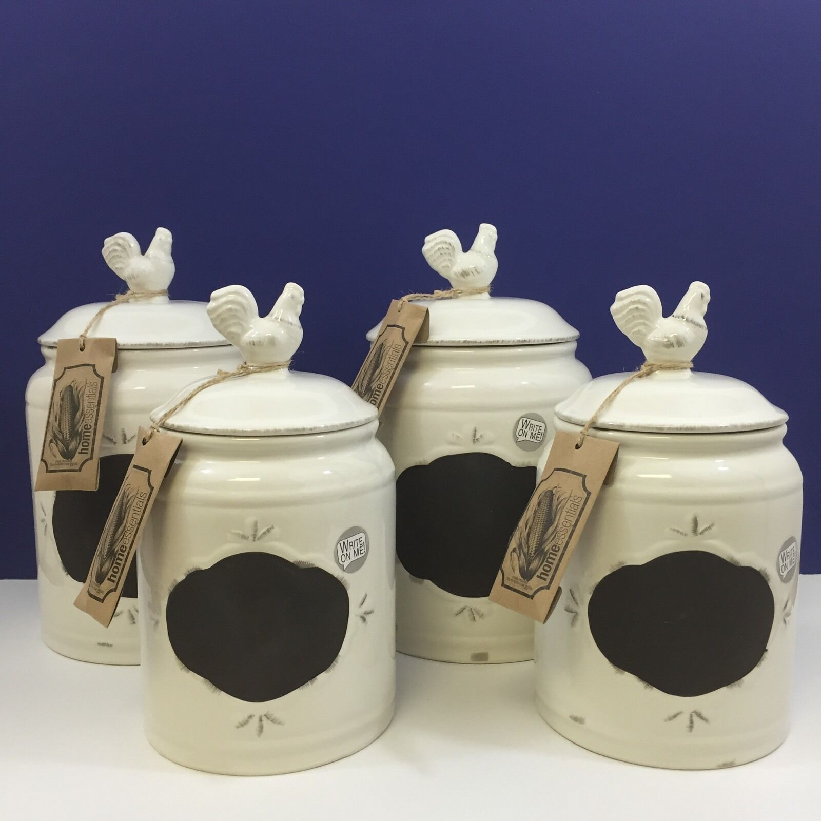 NEW   4pc Ivory Rooster Chalk Board Canister Set