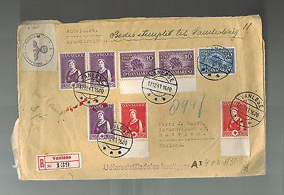 Briefmarken 1941 Zensiert Vanlose Dänemark Oversize Registrierte Zu Holland Europa