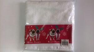 """""""joyeux Pugmas"""" Serviette à Main * Blanc + Imprimé Bordure * 80 Cm X 50 Cm * 100% Coton Doux-afficher Le Titre D'origine Utilisation Durable"""