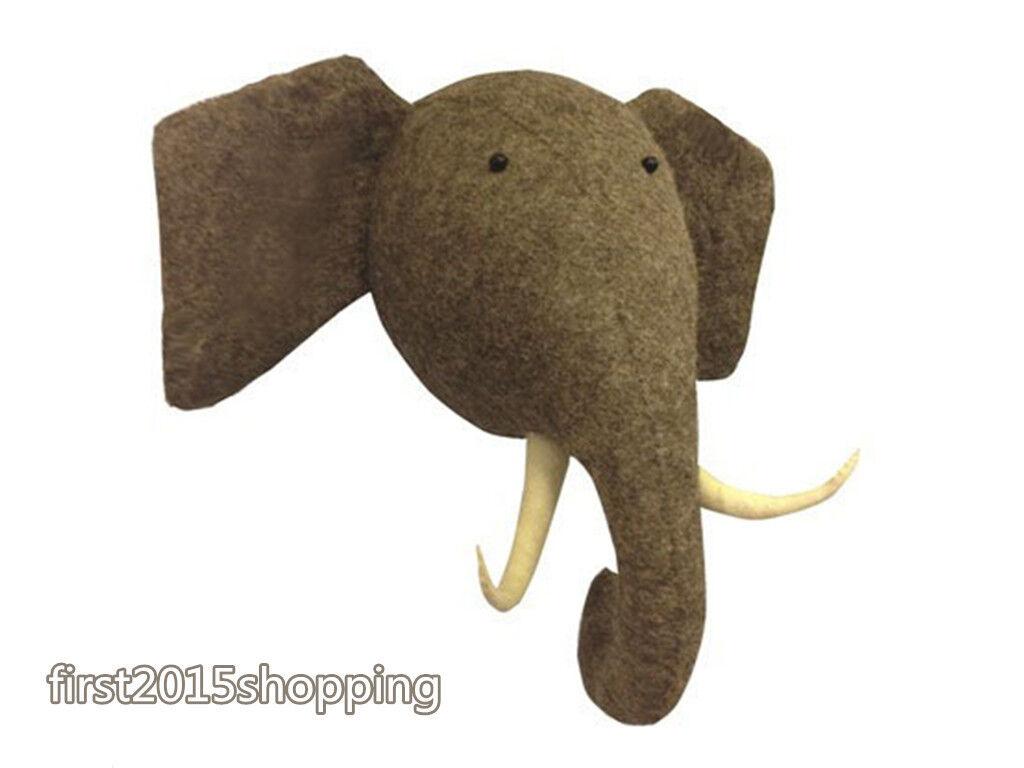 Éléphant Mural en peluche doux animal synthétique de la faune Tête Chambre à Coucher Décoration