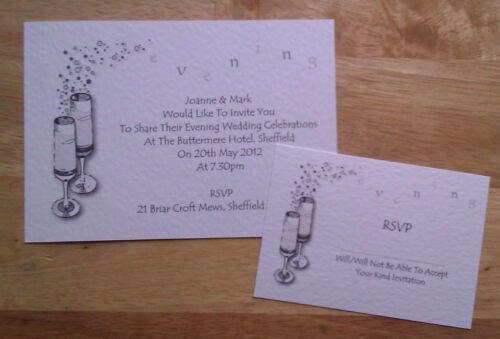 25 Personalised Wedding Evening Invitations Invites With RSVPs and Envelopes