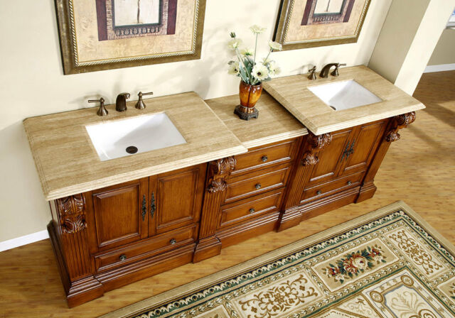 95 Large Bathroom Double Sink Vanity Travertine Top Bath Furniture