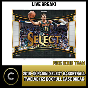 2018-19-PANINI-SELECT-BASKETBALL-12-BOX-FULL-CASE-BREAK-B095-PICK-YOUR-TEAM