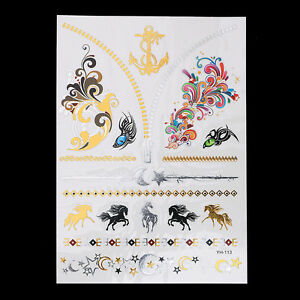 Henna Gold Temporary Tattoo Anchor Horse Eye Moons Stars Necklace