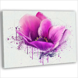 Details About Vibrant Purple Flower Abstract Painting Canvas Print Framed Wall Art Picture
