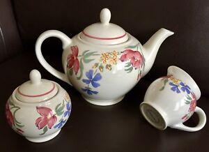 Vintage English Ironstone Sugar and Creamer Staffordshire White Mist Tea Set Vintage Ironstone Sugar Bowl with Lid Creamer