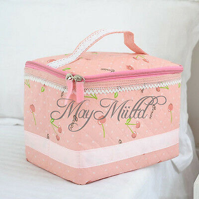 Pink Cherry Bow Organizer Travel Make Up Cosmetic Accessory Case Storage Bag
