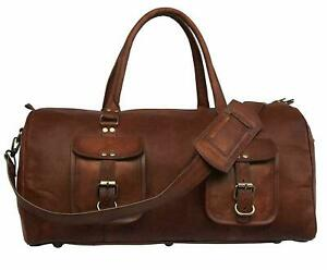 Travel-Duffle-Weekend-Overnight-Luggage-Holdall-Bag-Leather-bumper-sale