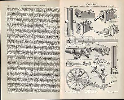 Sonderabschnitt Lithografie 1905: GeschÜtze. Geschosse. Krieg Kanone Munition Gewehr 2019 Offiziell