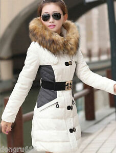 New-Women-039-s-Slim-down-cotton-trench-coat-stitching-hooded-padded-jacket-belt-fur
