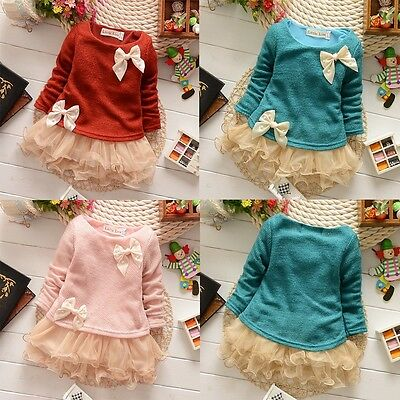 Lovely Kids Baby Girls Knit Top Lace Bow Princess Tutu Tulle Dress Skirt 0-3Y