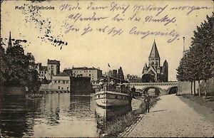 Metz-Lothringen-France-AK-mit-Pruefstempel-1916-Blick-auf-die-Mittelbruecke-Schiff