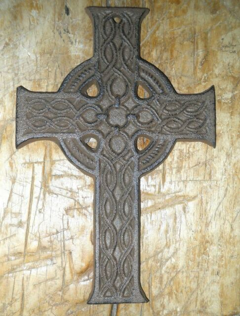 Cast Iron Victorian Style Celtic Wall Cross Rustic Decorative Finish Home Decor