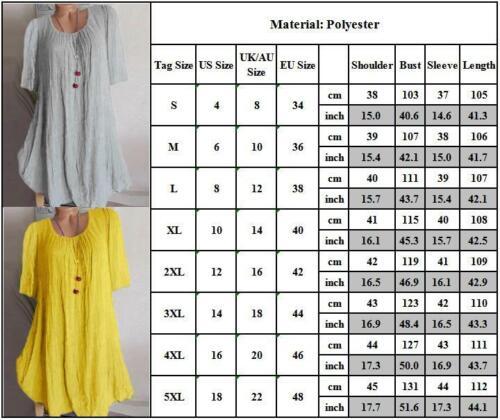UK Womens Cotton Linen Summer Long Shirt Dress Holiday Beach Kaftan Dresses 8-22
