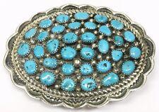 NAVAJO STERLING Silver BELT BUCKLE W/Turquoise