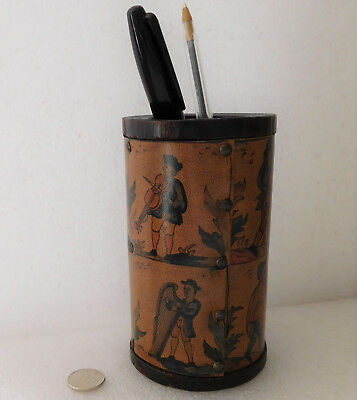 Studded wooden pencil pot faux leather old music pictures drum harp flute