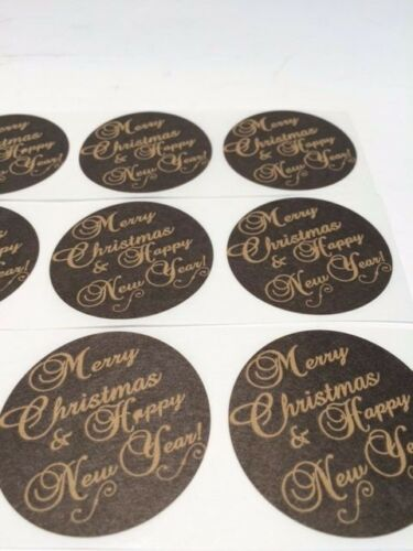 """500 Merry Christmas and Happy New Year 2/"""" Sticker Natural Kraft Paper Seals NEW"""