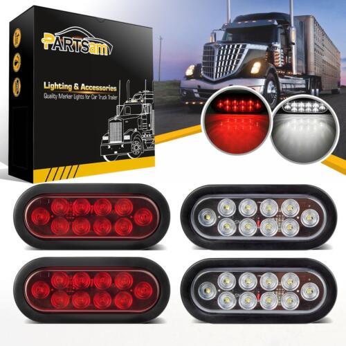 "2 White 6/"" Oval Oblong LED Back-up Stop Turn Tail Light RV Truck Trailer 2 Red"