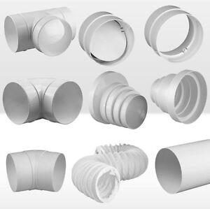 Rundrohrsystem-PVC-Lueftungsrohr-T-Stueck-Halter-Verbinder-Kniestueck-Reduktion