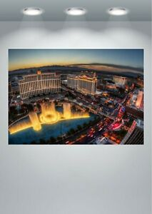 The Bellagio Fountains Las Vegas at Night Large CANVAS Art Print A0 A1 A2 A3 A4