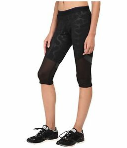 d668538f9cfc1 adidas by Stella McCartney Womens Black Run 3/4 Tights AA7584~Mesh ...