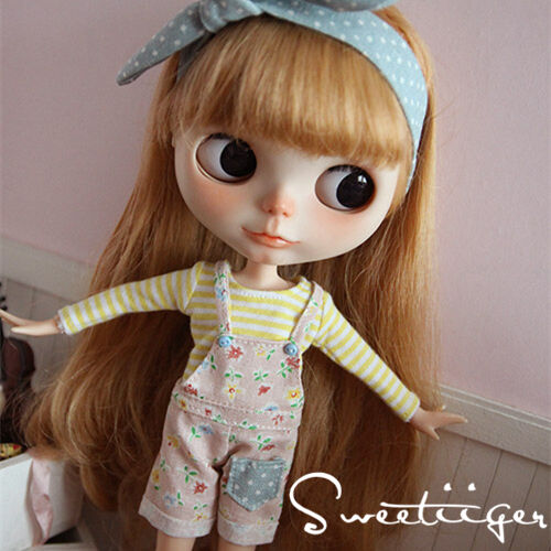 """【Tii】Overalls Bib outfit 12/"""" 1//6 doll Blythe//Pullip//azone Clothes Handmade pink"""