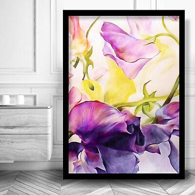 Abstract Floral Purple Art Print Of Original Watercolour Iris Flowers Ebay