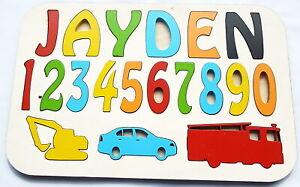 Personnalise-Enfant-039-s-Name-Puzzle-jusqu-039-a-8-lettres-educatif-en-bois-jouet-TRH