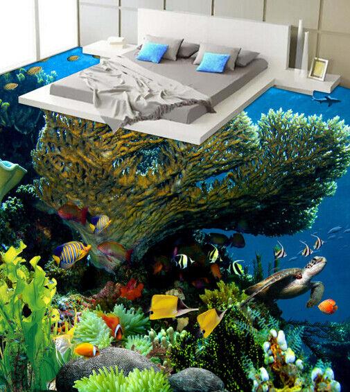 3D Big Coral Tortuga Piso impresión de parojo de papel pintado mural 6 5D AJ Wallpaper Reino Unido Limón