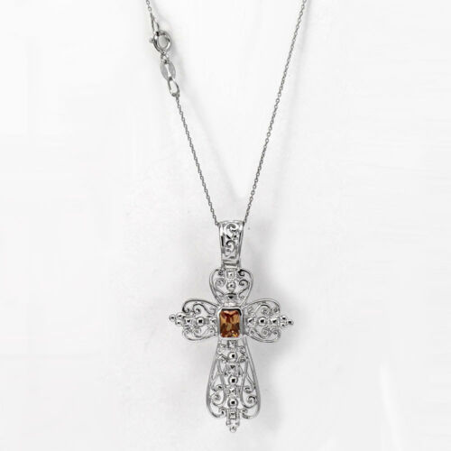 925 Sterling Silver Filigree Open Cross with Brown CZ  Pendant Charm Necklace