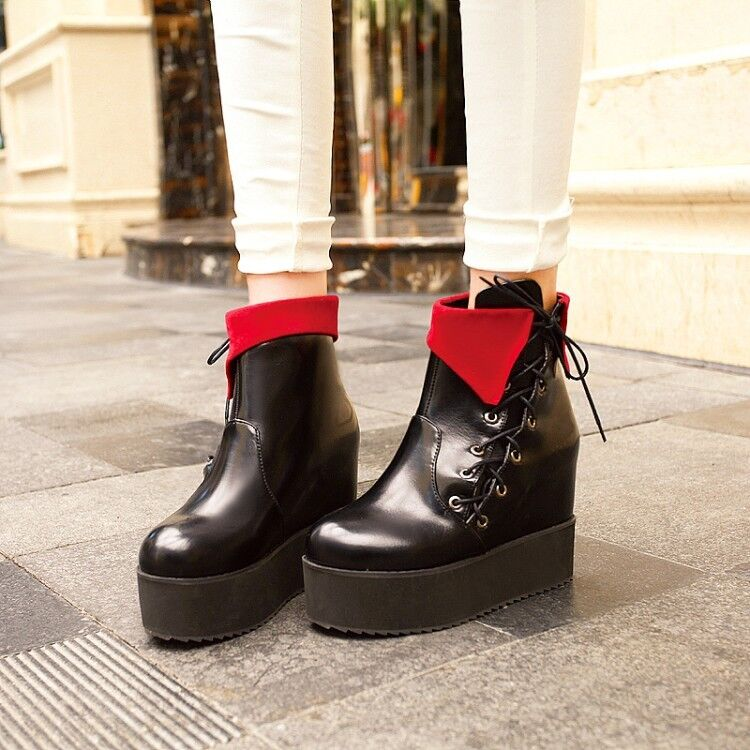 Women's Creepers High Wedge Heels Platform Round Toe Leather Clubwear Ankle Boot