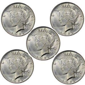 1924-Peace-Dollar-BU-Lot-of-5