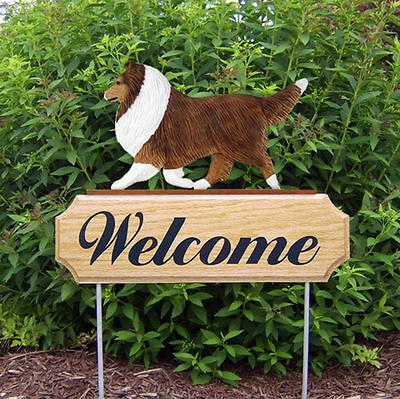 Sheltie Dog Breed Oak Wood Welcome Outdoor Yard Sign Sable