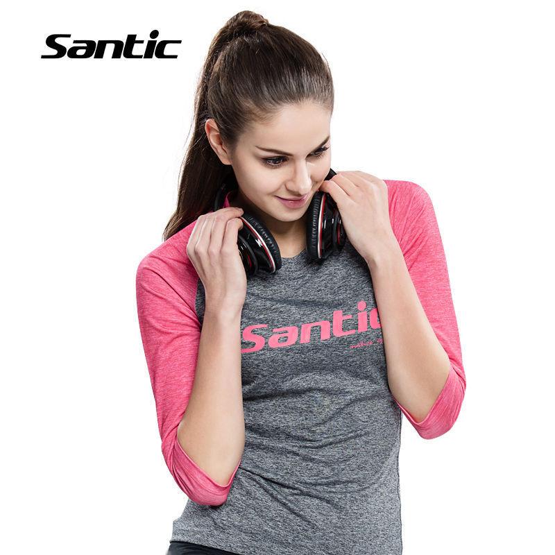 Santic Women Cycling Half Sleeve Shorts Sports Anti-sweat Casual Wear T-shirt