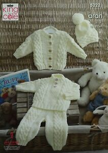 KNITTING-PATTERN-Baby-Cable-Jumper-Trousers-Cardigan-amp-Hat-Aran-King-Cole-5222