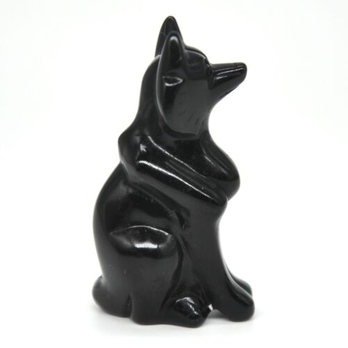 """2.4/"""" Fox Stone Carving Natural Black Obsidian Crystal Healing Lucky Collectible"""
