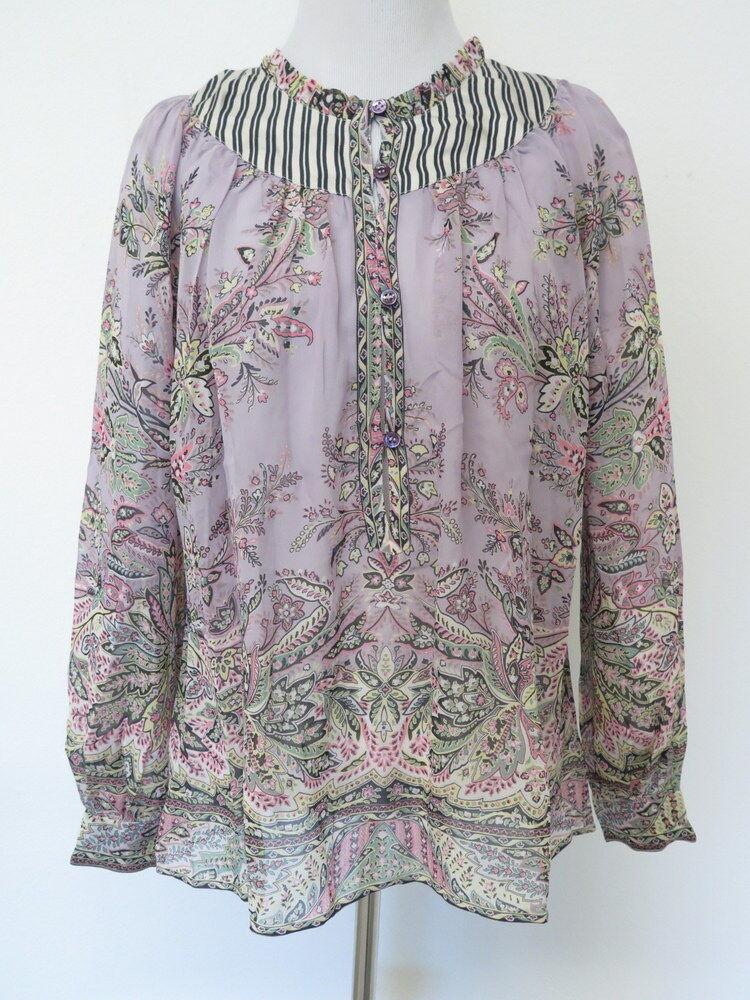 Etro Blouse: lila Long Sleeve, 100% Silk, Größe 2