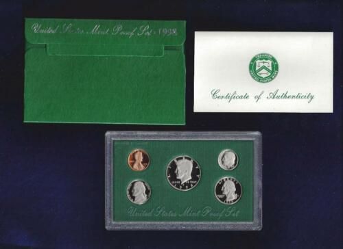 1998-S U.S MINT PROOF SET...CLAD...5 COINS...ORIGINAL GREEN BOX /& COA