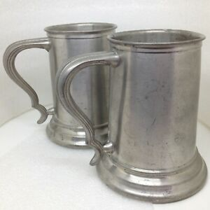 Pair-of-2-Vintage-Pewter-Glass-Bottom-Tankard-Mug-Set